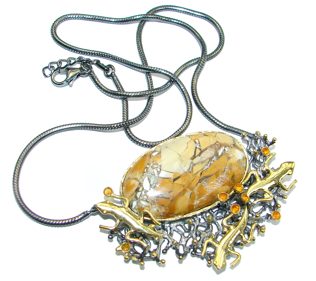 Three Lizards Australian Brecciated Mookaite Gold plated over Sterling Silver handmade necklace