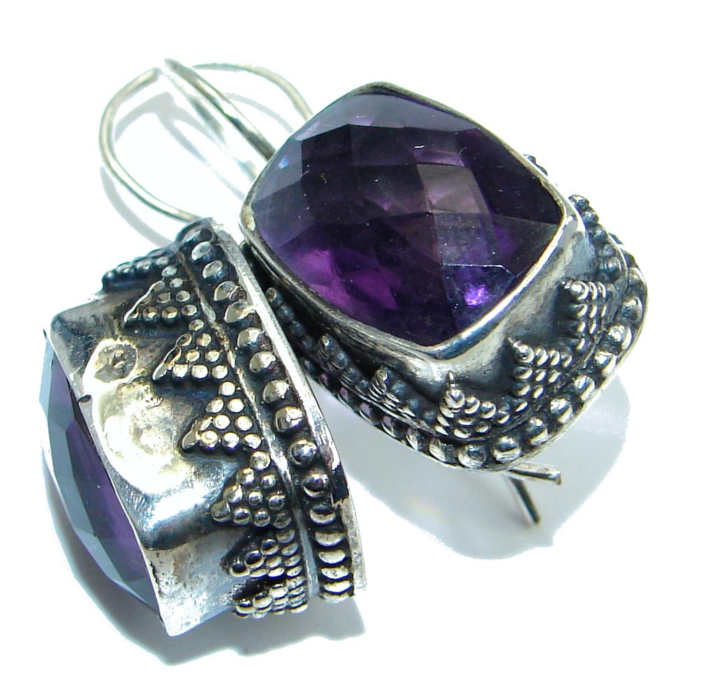 Huge Amethyst Silver Tone handmade earrings