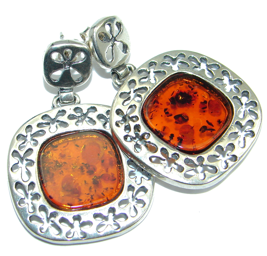 Luxury Genuine Baltic Polish Amber Sterling Silver handmade Earrings