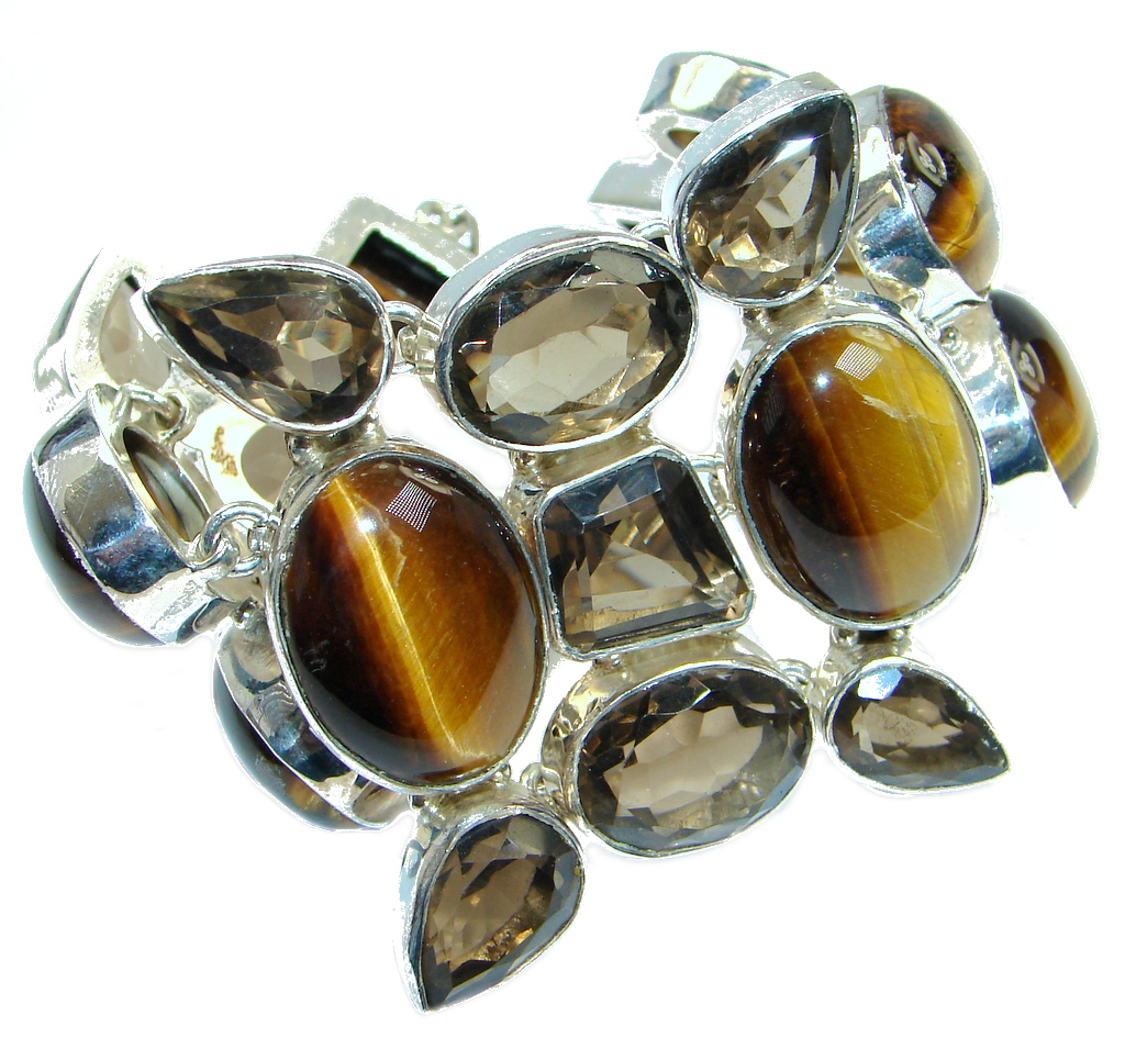 Chic Boho Style  Genuine  Golden  Tigers Eye  Sterling Silver handmade Bracelet