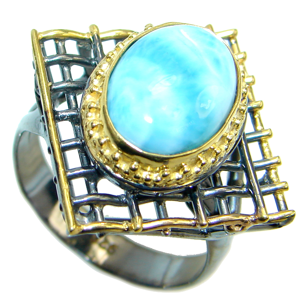 Blue Larimar Gold Rhodium plated over Sterling Silver Ring s. 8 adjustable