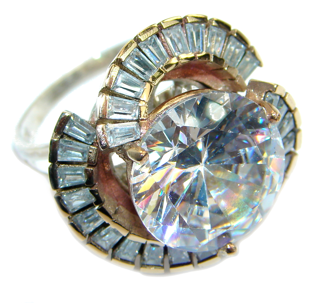 Large Victorian Style White Topaz Sterling Silver ring; s. 11