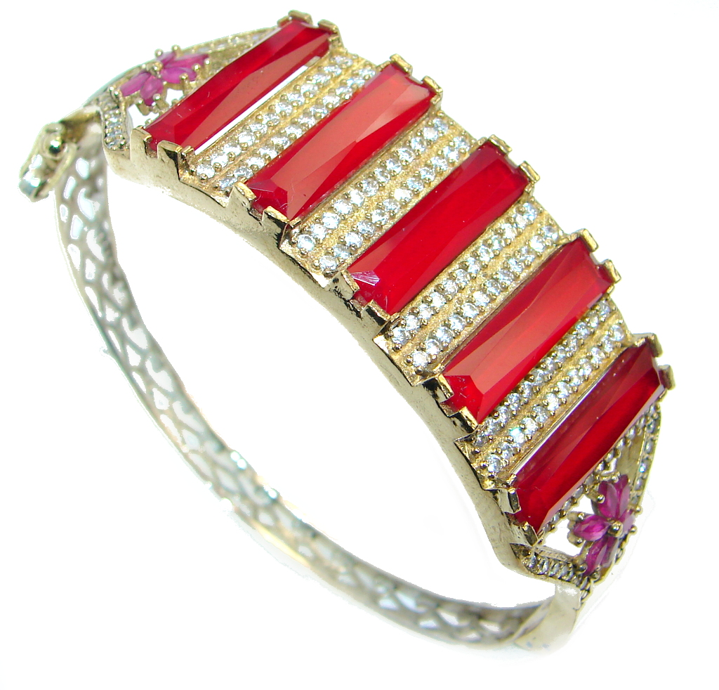 Victorian Style Created Red Ruby & White Topaz Copper over Sterling Silver Bracelet / Cuff