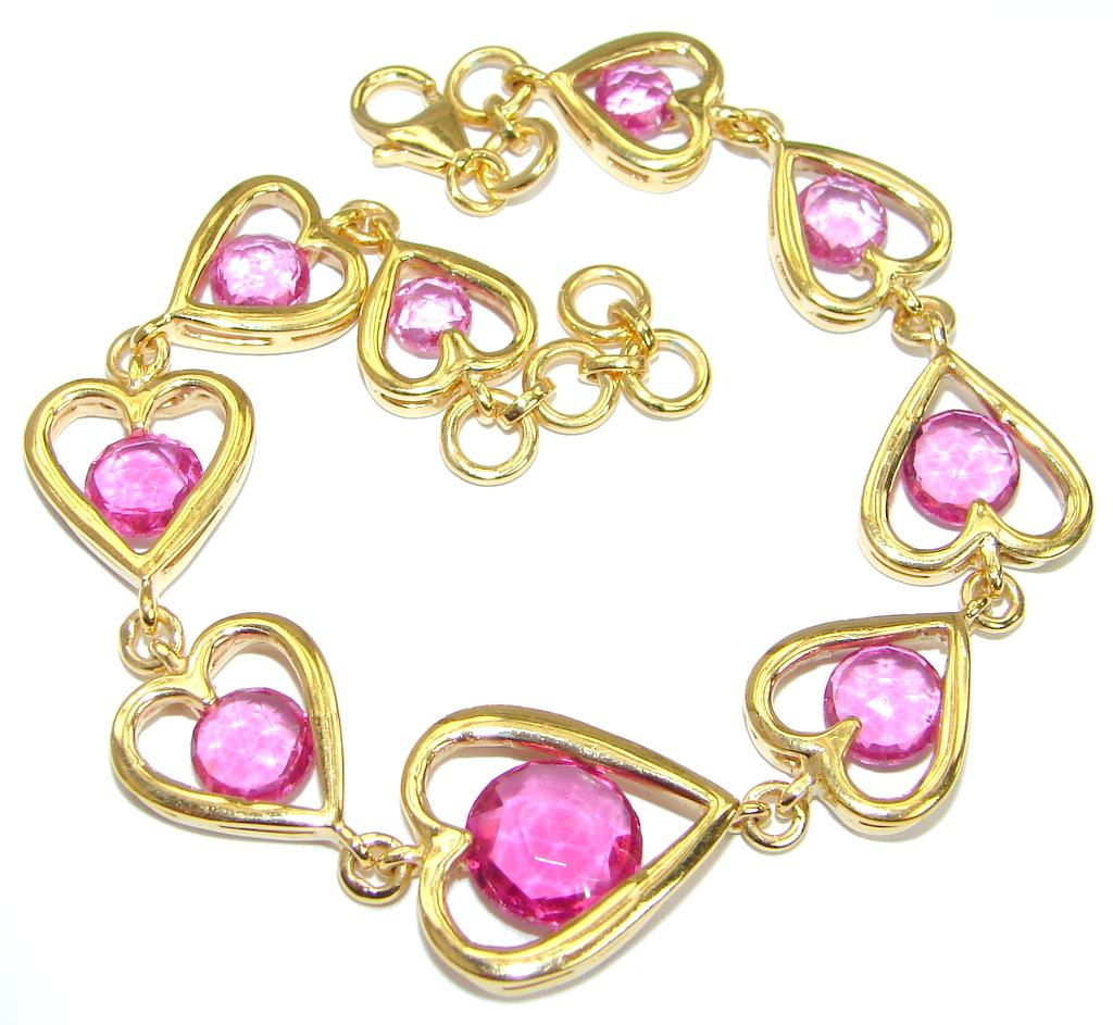 Classy Beauty Pink Topaz  14K Gold over .925 Sterling Silver handmade Bracelet