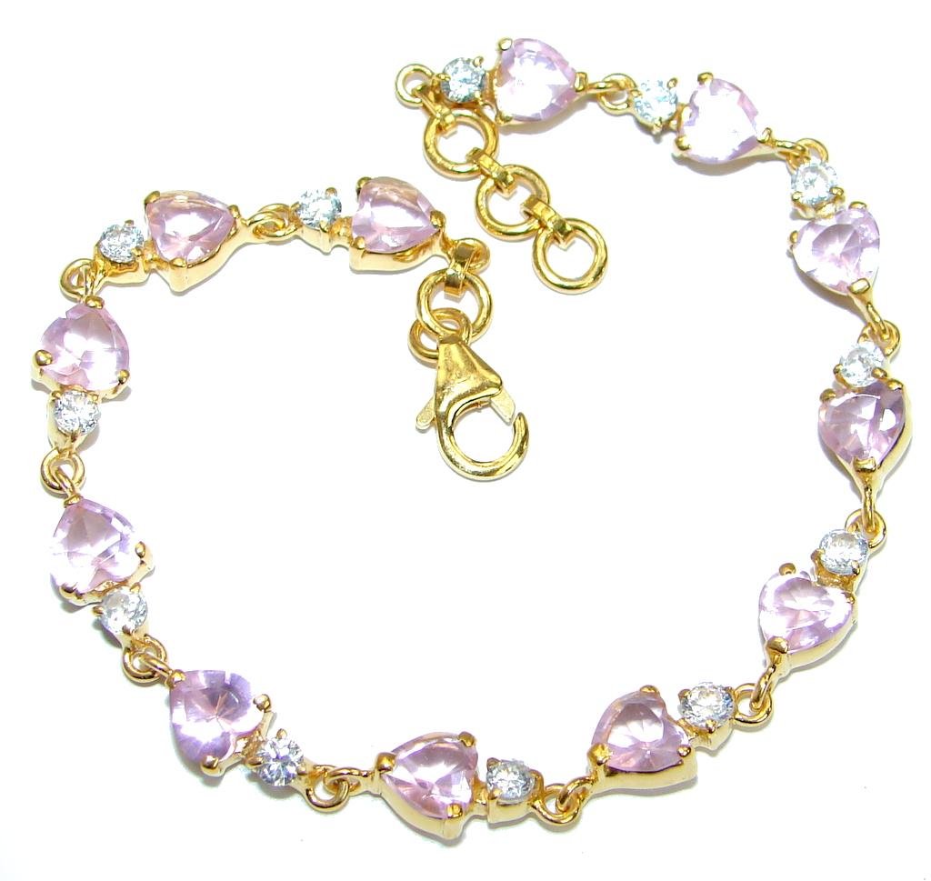 Chic Pink Topaz 14K Gold over .925 Sterling Silver handmade Bracelet