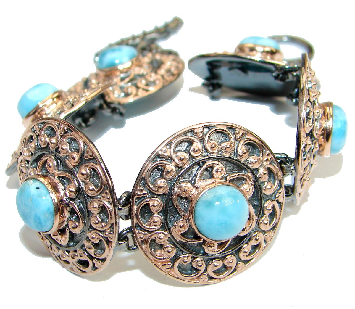 Genuine Blue Larimar Rose Gold Rhodium over .925 Sterling Silver handmade Bracelet Cuff