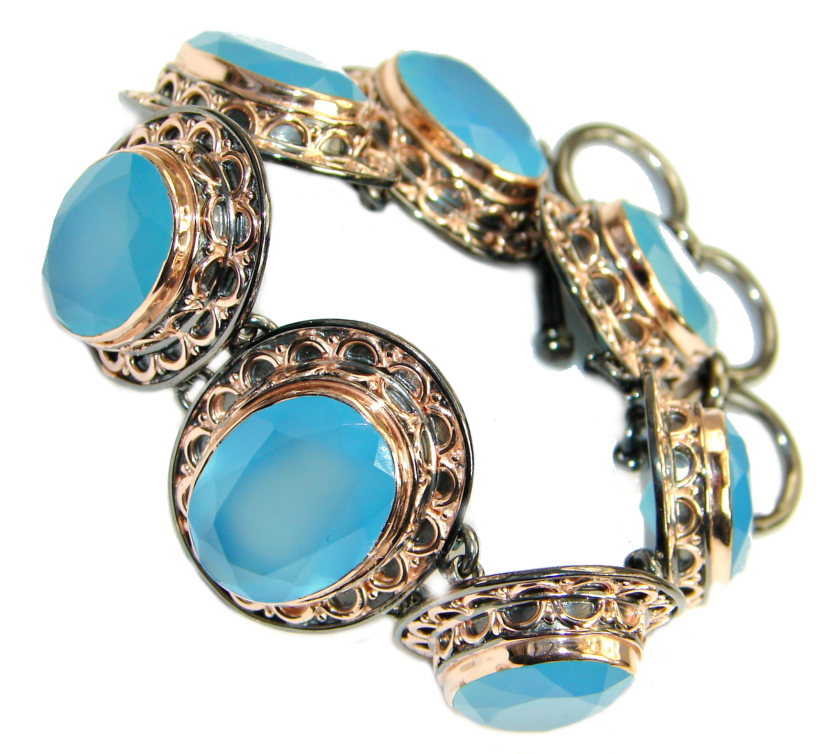 Chunky Vintage Design  Chalcedony Agate Rose Gold over .925 Sterling Silver Bracelet