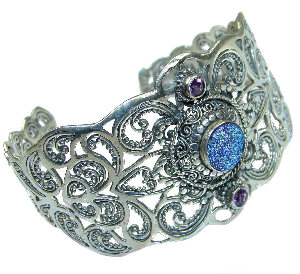 Chunky Luxury Blue  Crystal Druzy .925 Sterling Silver handmade Cuff/Bracelet