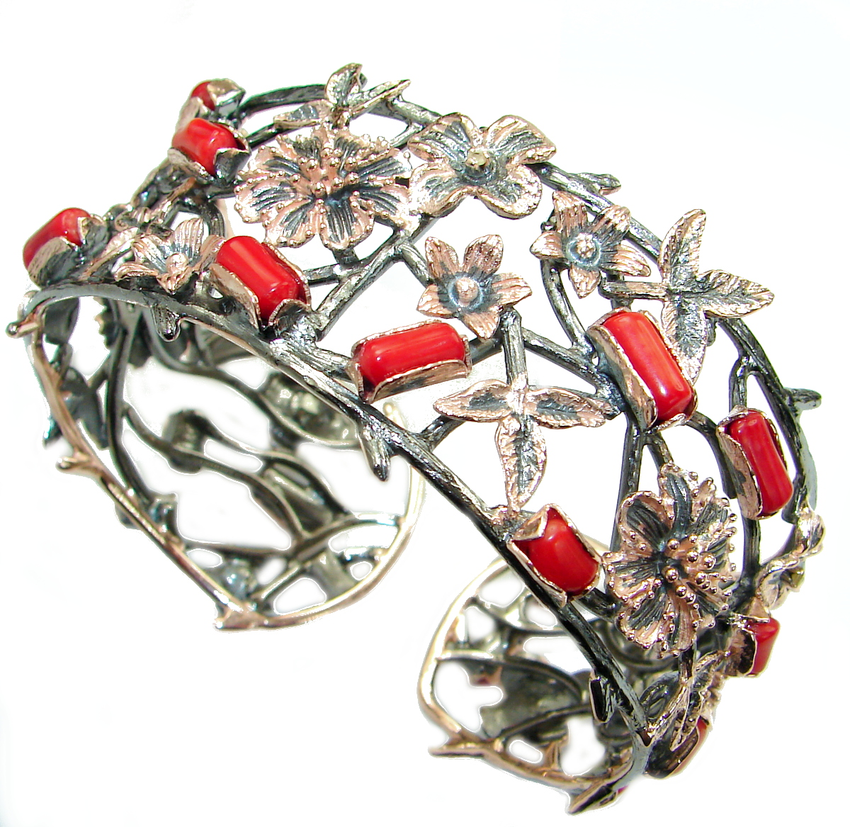 Chunky Genuine Fossilized Coral 18 ct Gold Rhodium over .925 Sterling Silver Bracelet / Cuff