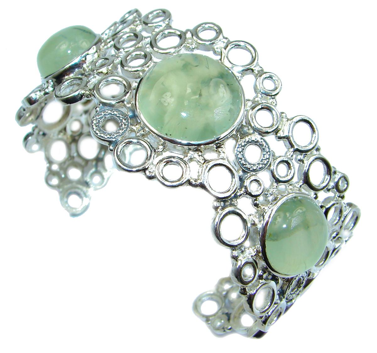 Great Design Genuine Moss Prehnite  .925 Sterling Silver Bracelet / Cuff