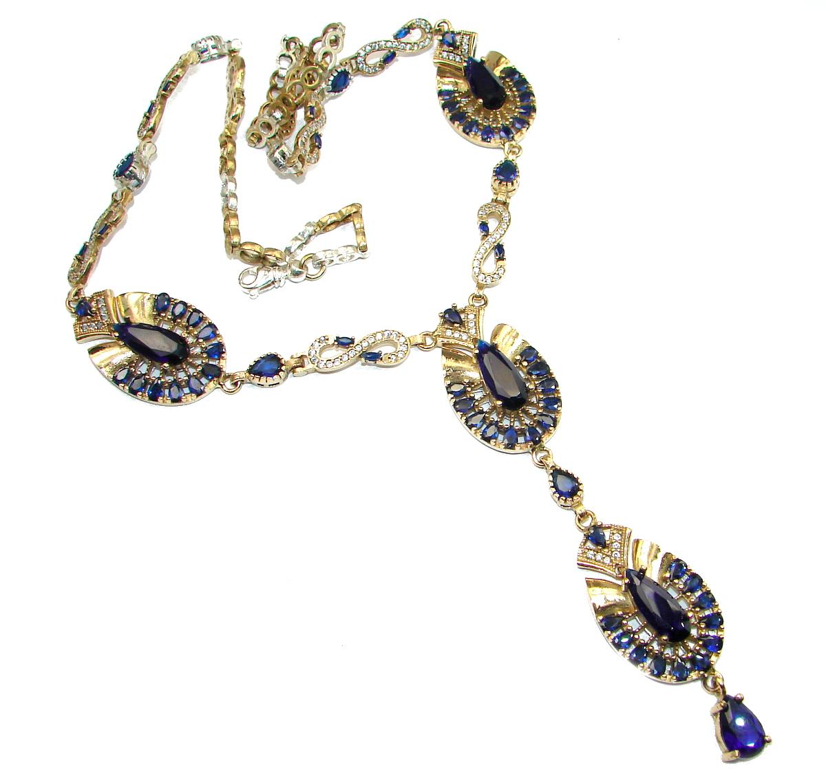 f1c663da0 Victorian Style Created Dark Sapphire & White Topaz Sterling Silver necklace