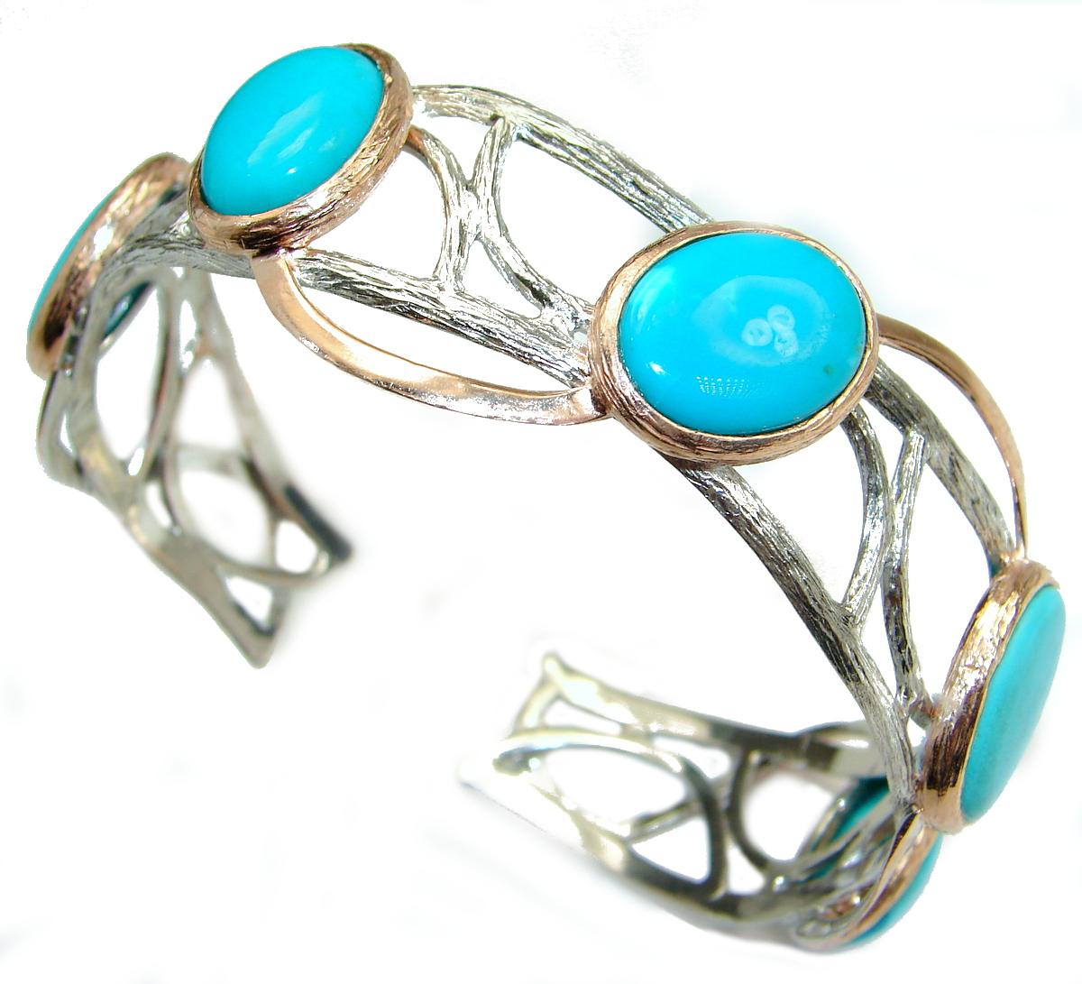 Boho Chic  Genuine Sleeping Beauty  Turquoise .925  Sterling Silver handmade Bracelet / Cuff