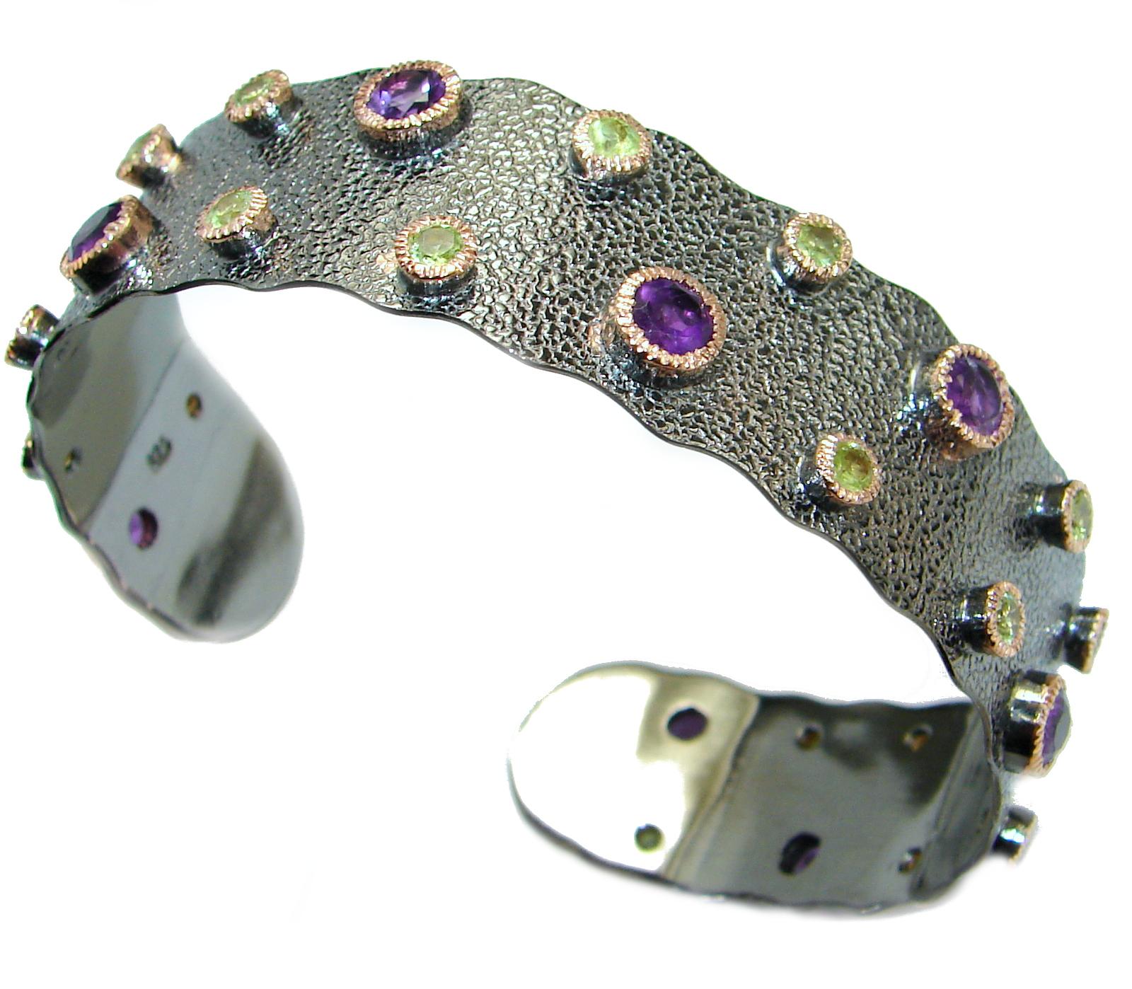 Genuine Amethyst 18K Gold Rhodium over .925 Sterling Silver handcrafted Bracelet / Cuff