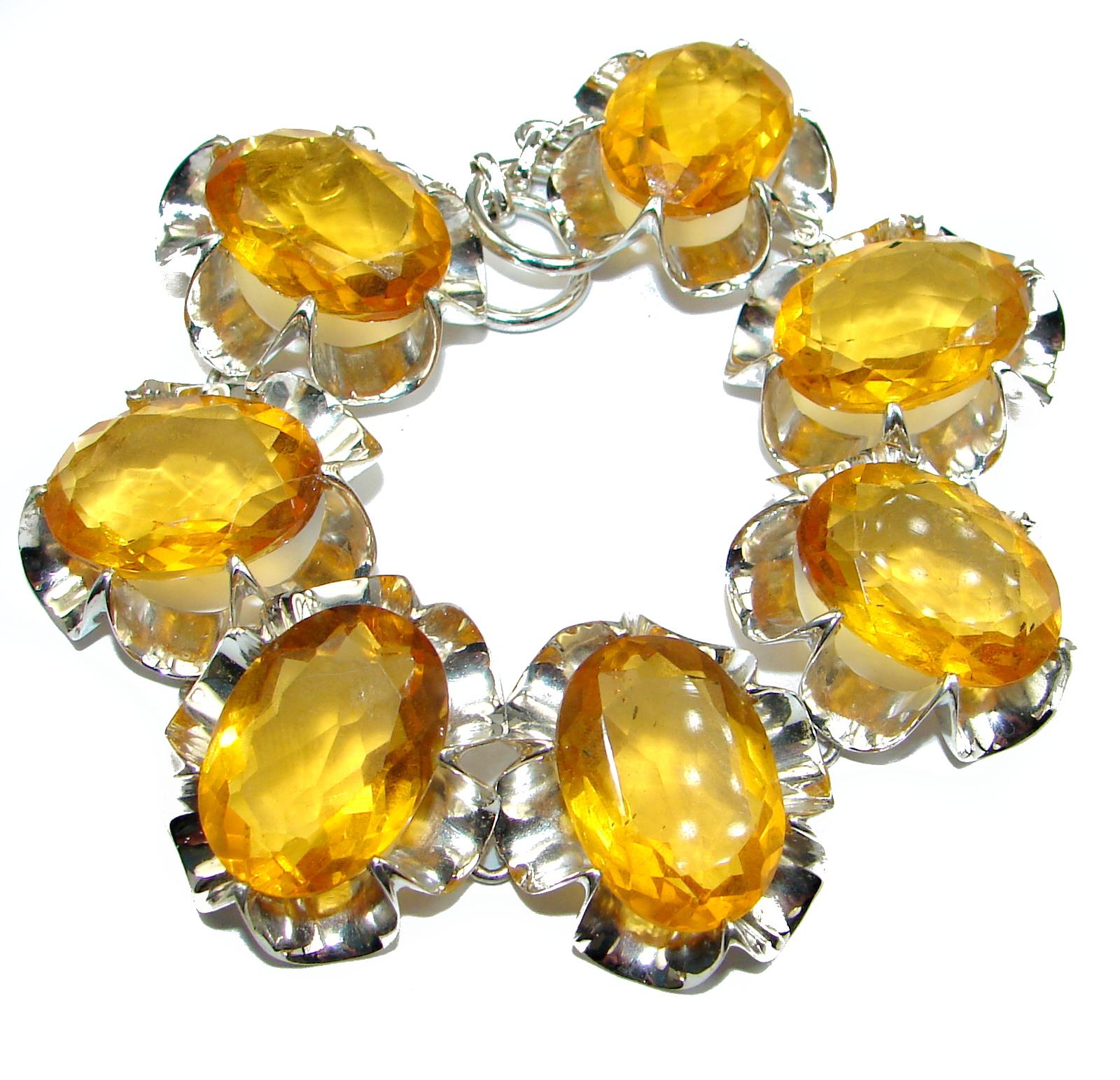 Huge  Rich Golden Quartz   .925  Sterling Silver handmade Bracelet