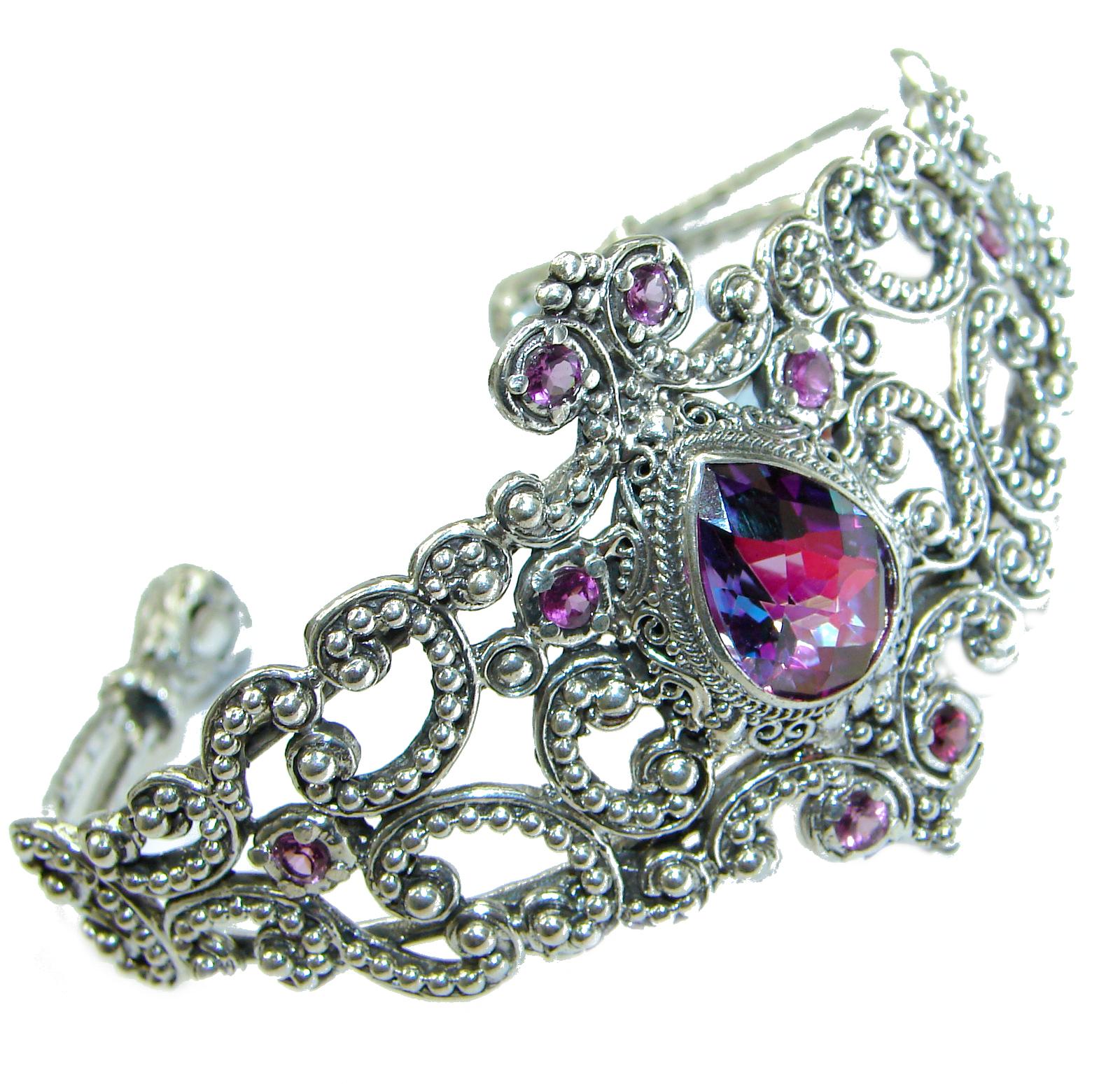 Chunky Luxury  Purple Magic Topaz .925 Sterling Silver handmade Cuff/Bracelet