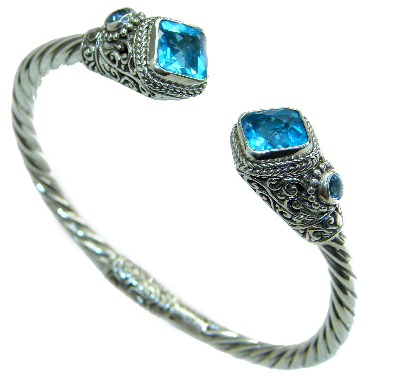 Chunky Luxury  Blue Magic Topaz .925 Sterling Silver handmade Hinged  Cuff/Bracelet