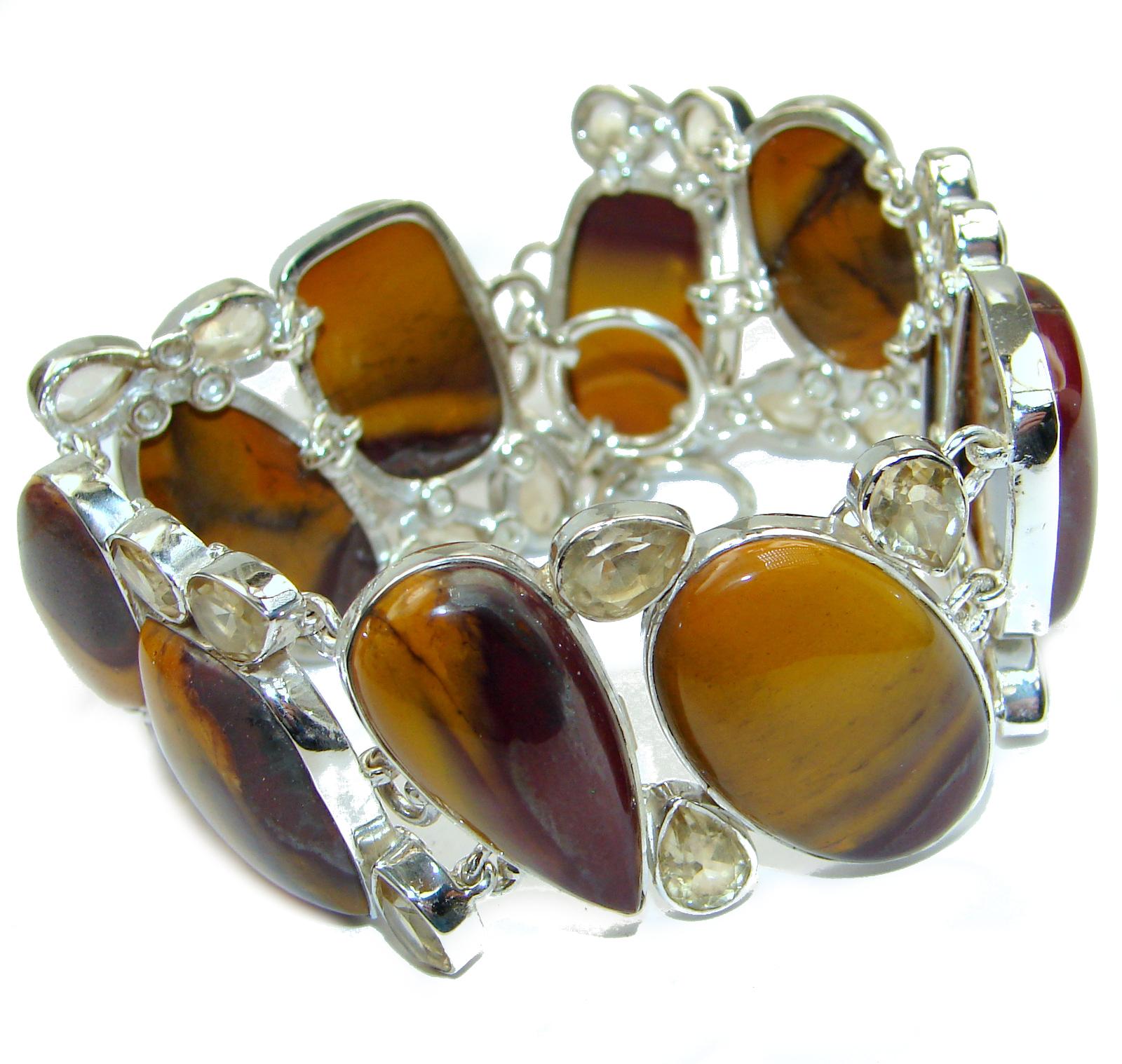 Chunky Natural  Authentic Australian  Mookaite .925 Sterling Silver handmade Bracelet