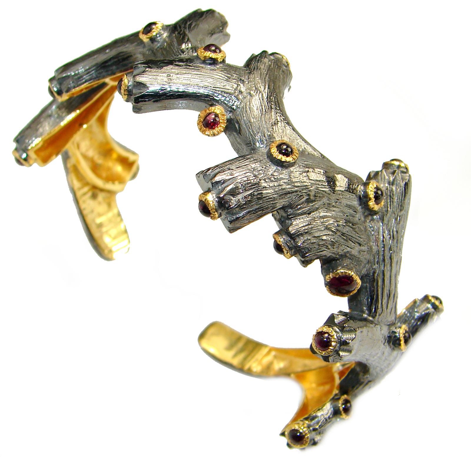 Genuine genuine  Garnet Rose Gold Rhodium .925  Sterling Silver handcrafted Bracelet / Cuff