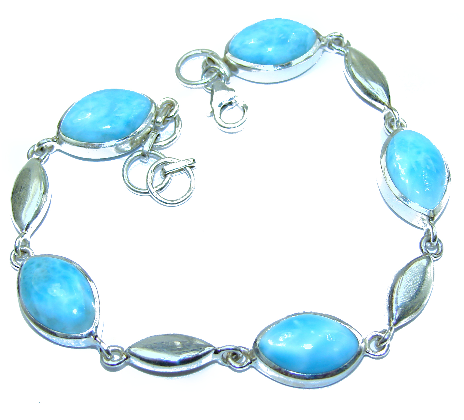 Classy Design authentic Larimar .925 Sterling Silver handcrafted Bracelet