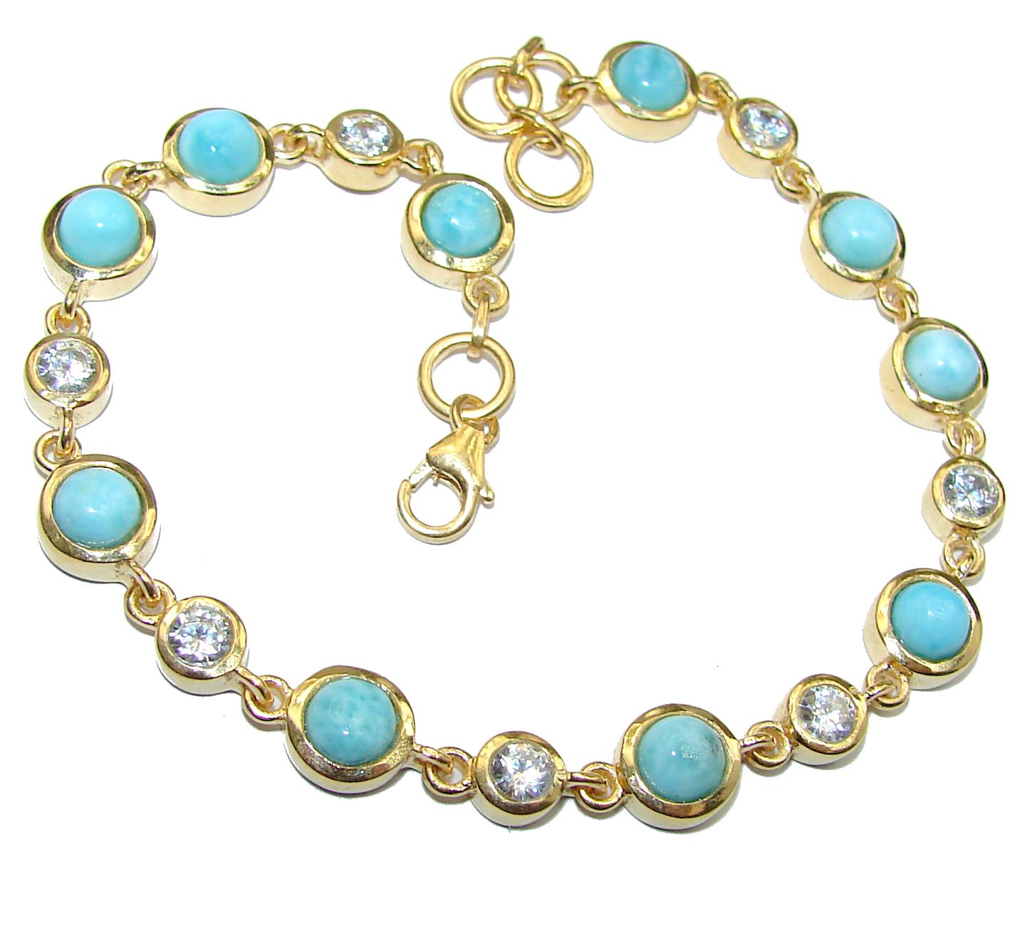 Classy Design authentic Larimar 14k Gold over .925 Sterling Silver handcrafted Bracelet