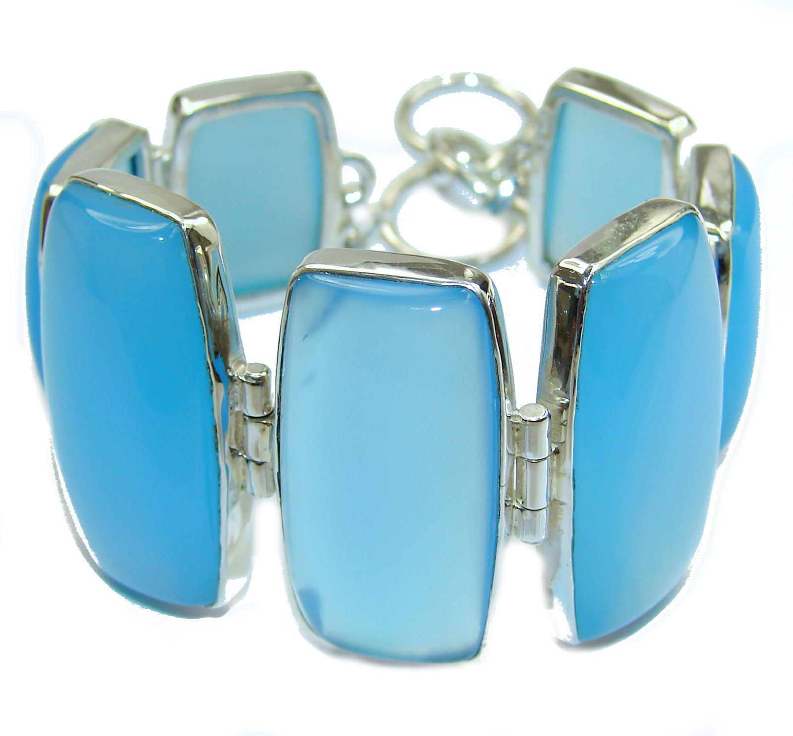 Classic Beauty Chalcedony Agate .925 Sterling Silver handmade Bracelet