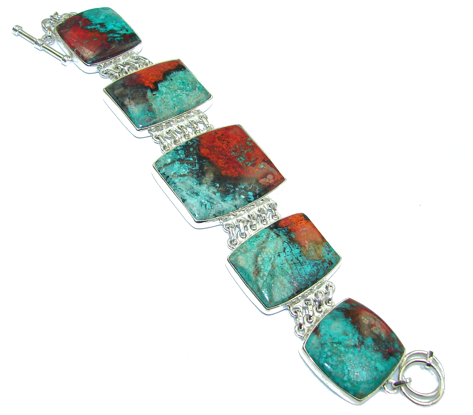Chunky Natural Beauty Sonora Jasper .925 Sterling Silver handmade Bracelet