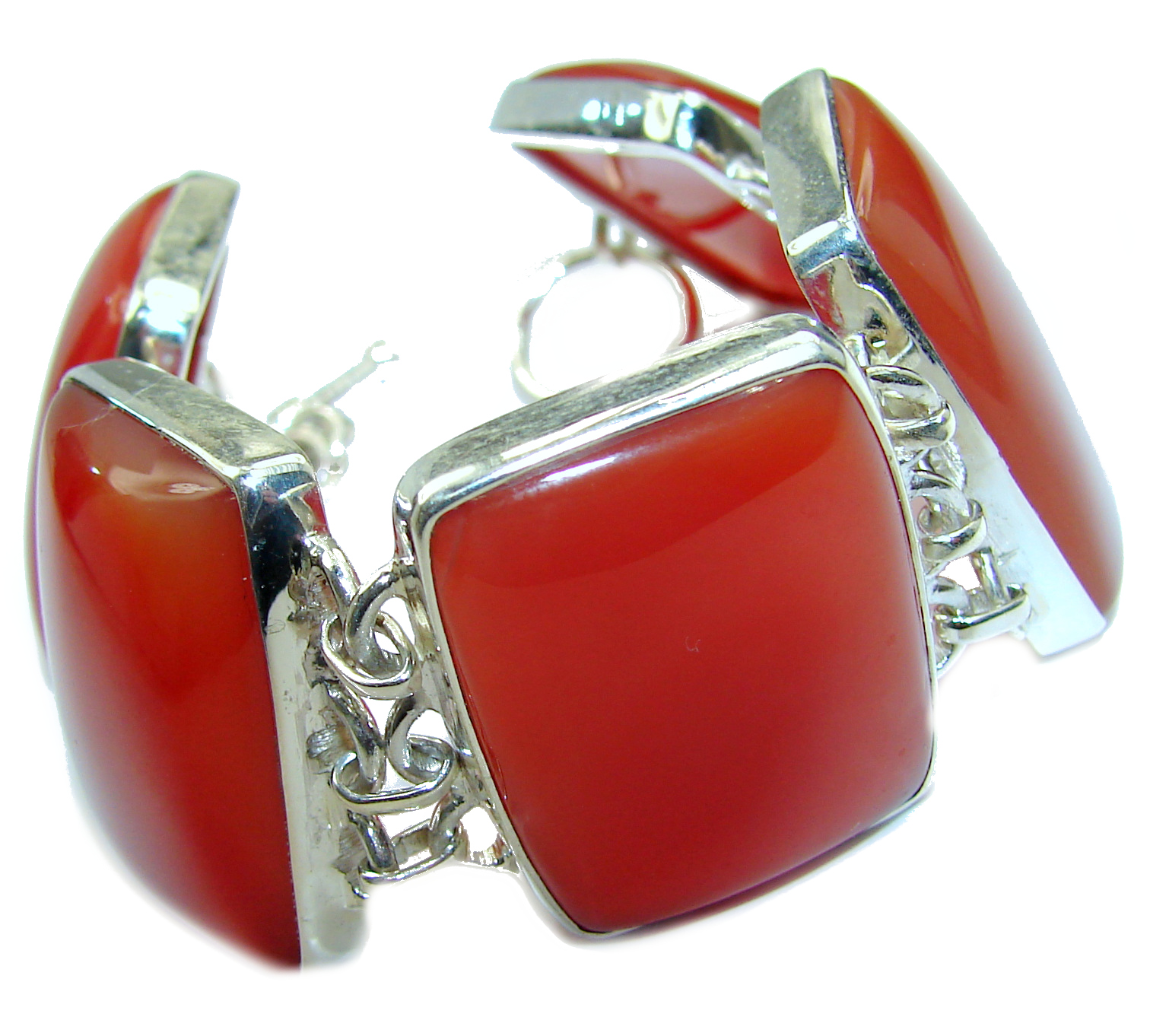 Chunky Natural Beauty Carnelian .925 Sterling Silver handmade Bracelet