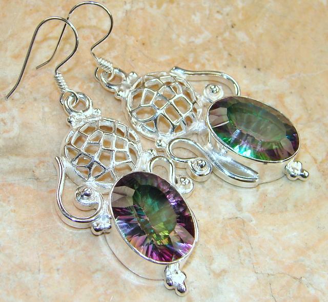 Deluxe! Rainbow Topaz Sterling Silver Earrings