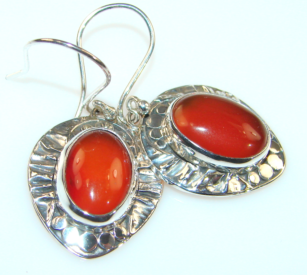 Excellent Quality Of Cornelian Sterling Silver earrings