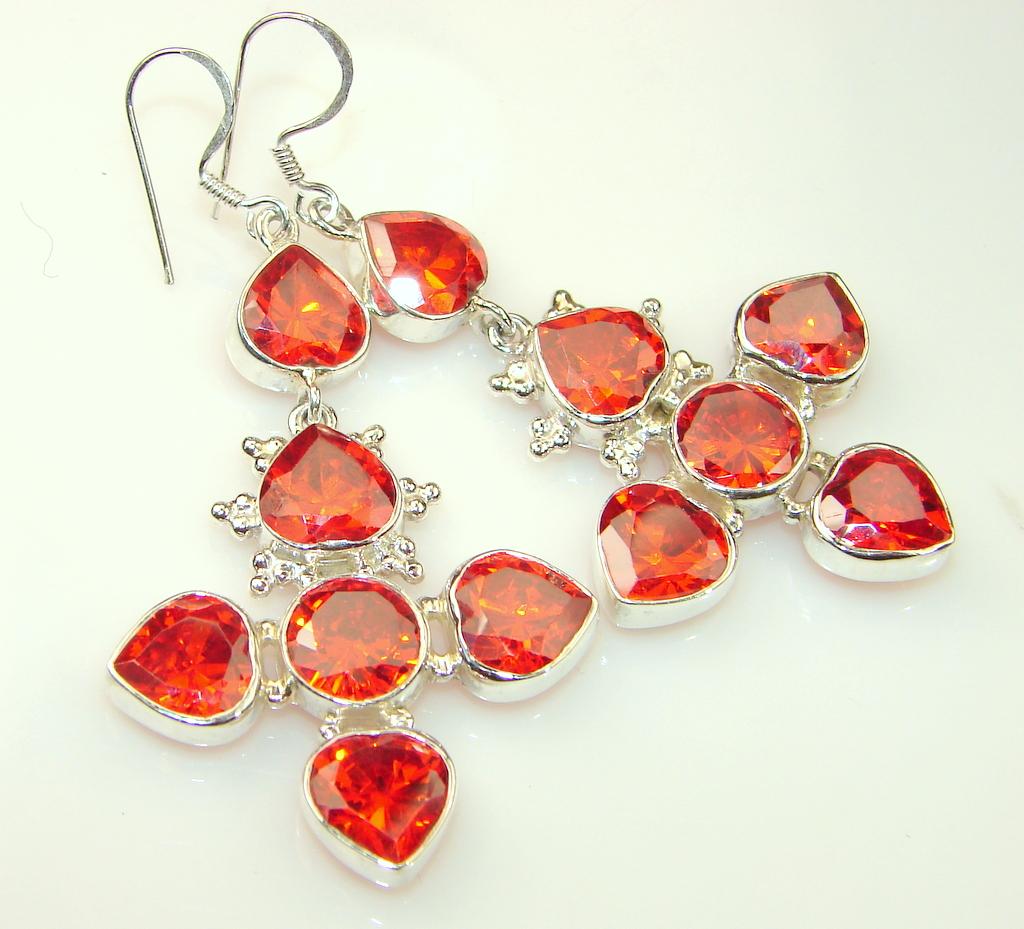 Great Red Garnet Quartz Sterling Silver Earrings