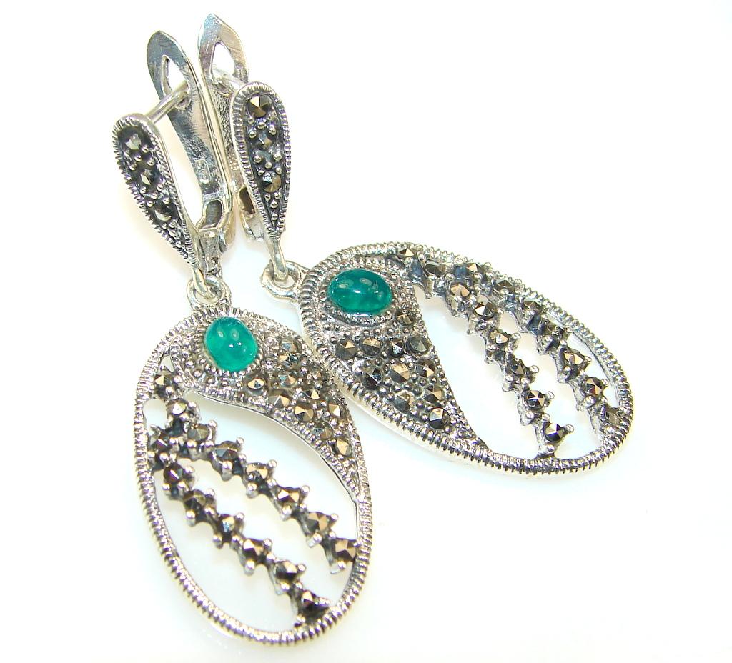 Forest Breeze Agate Sterling Silver earrings