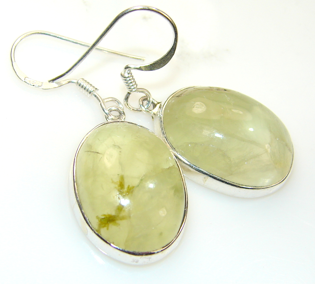 Fabulous Green Moss Prehnite Sterling Silver Earrings