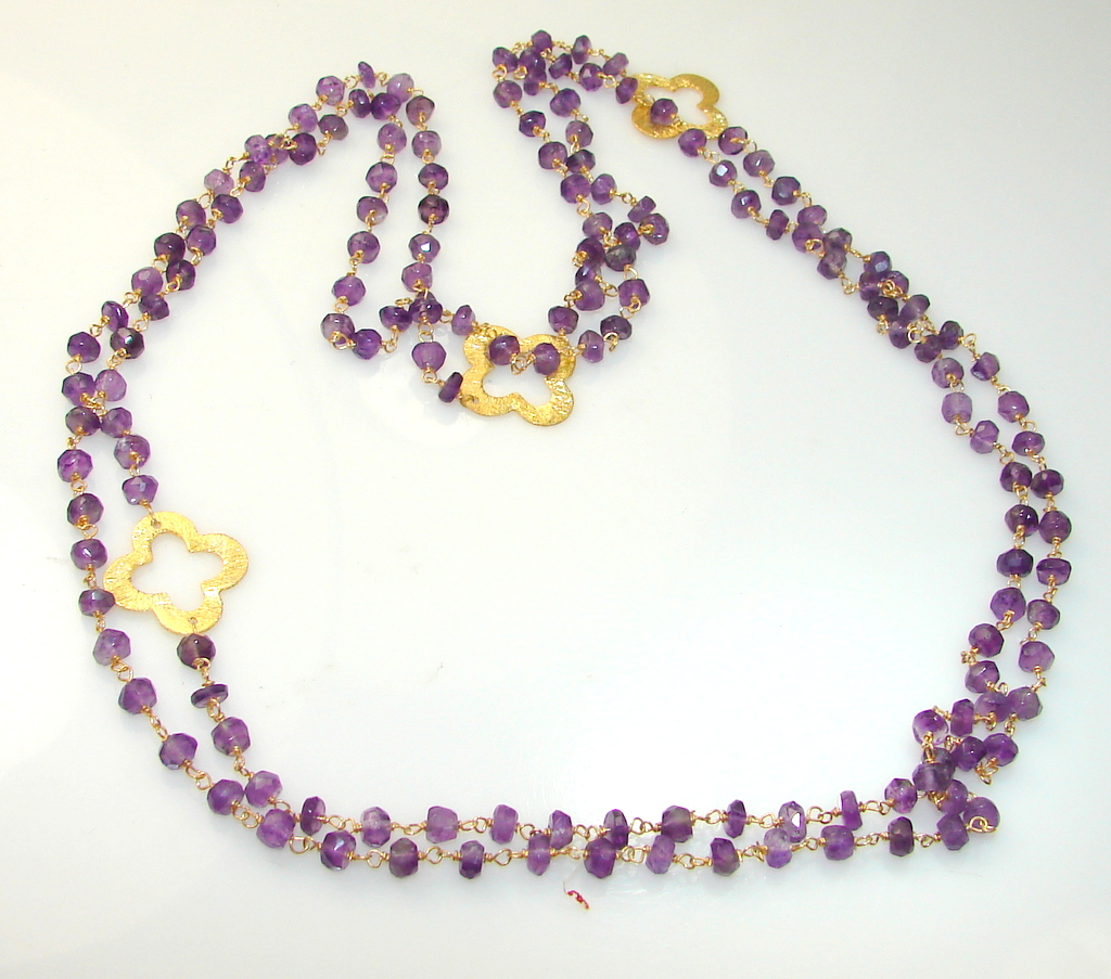 African Amethyst Gold Plated Sterling Silver Necklace/Beads