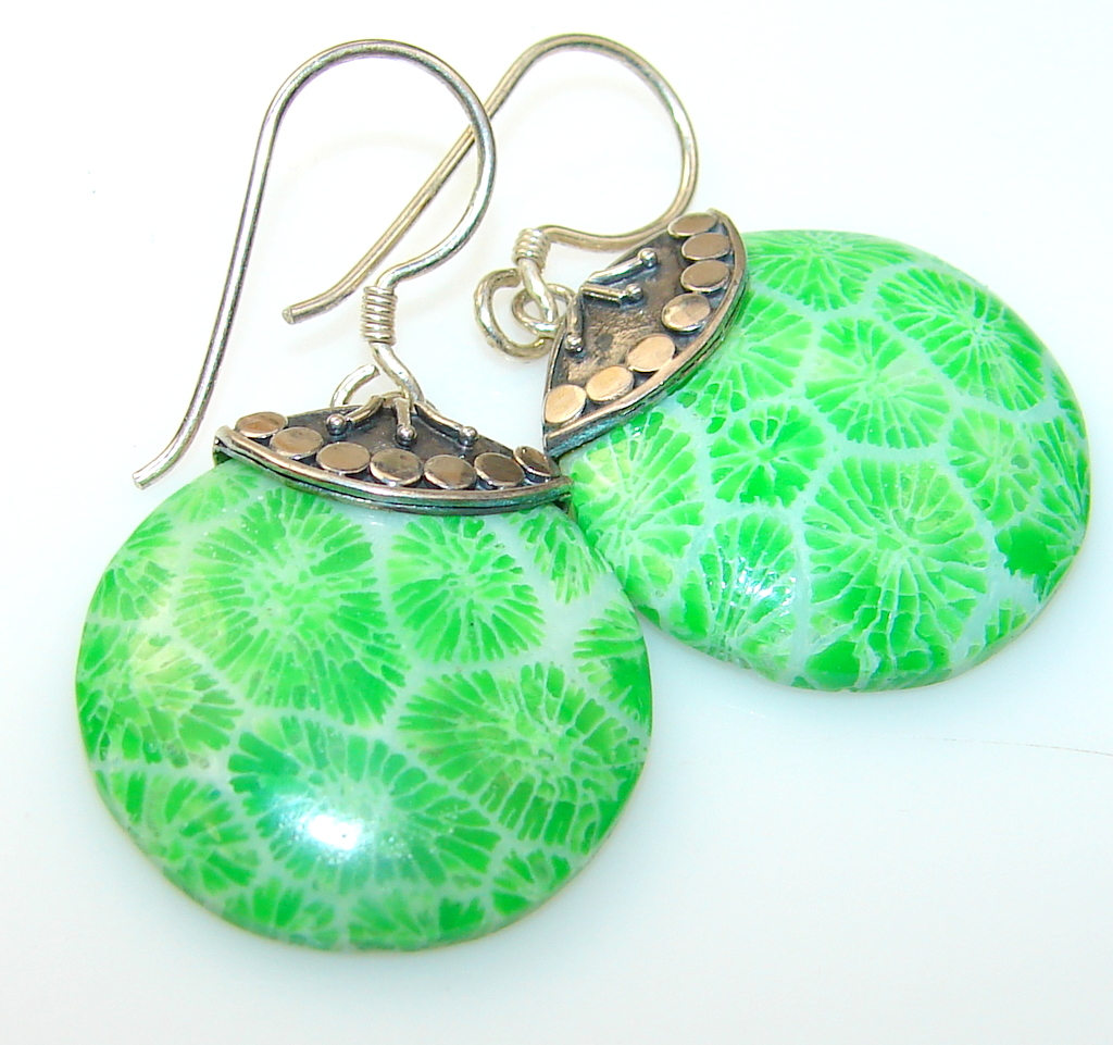 Dyed Fossilized Coral Sterling Silver earrings
