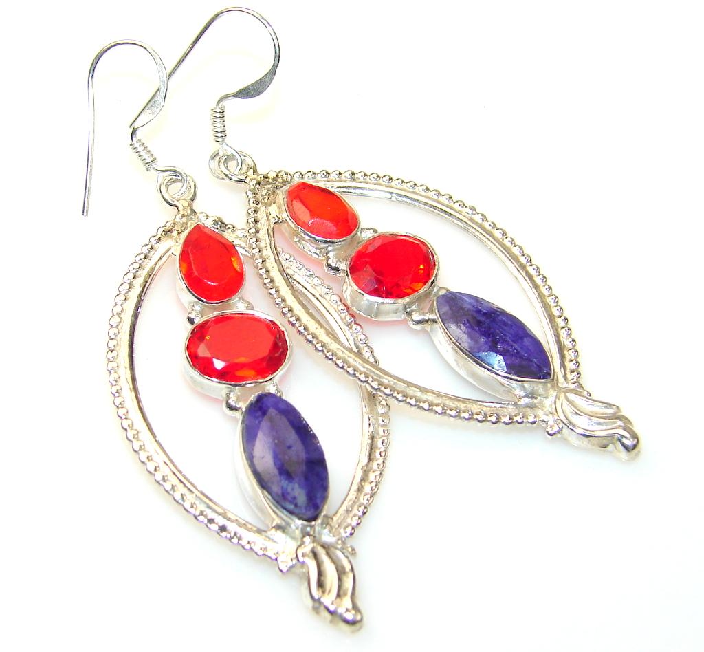 Empress Red Quartz Sterling Silver earrings