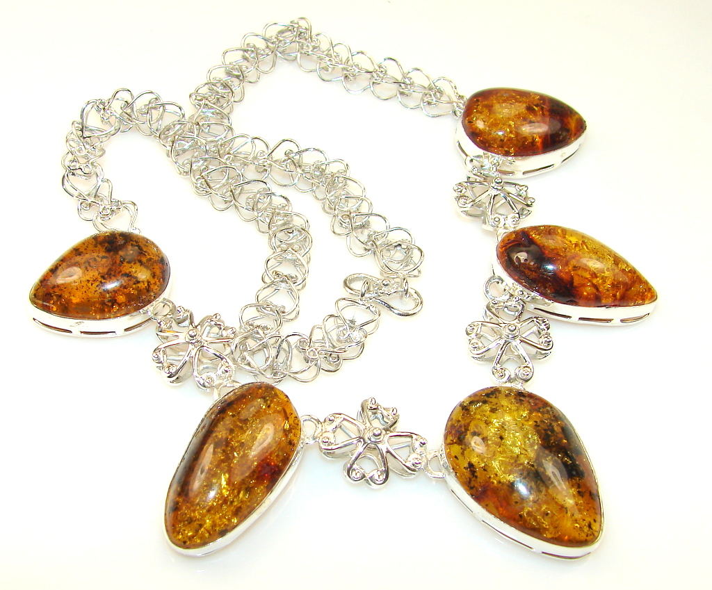 Magnificent Polish Amber Sterling Silver necklace