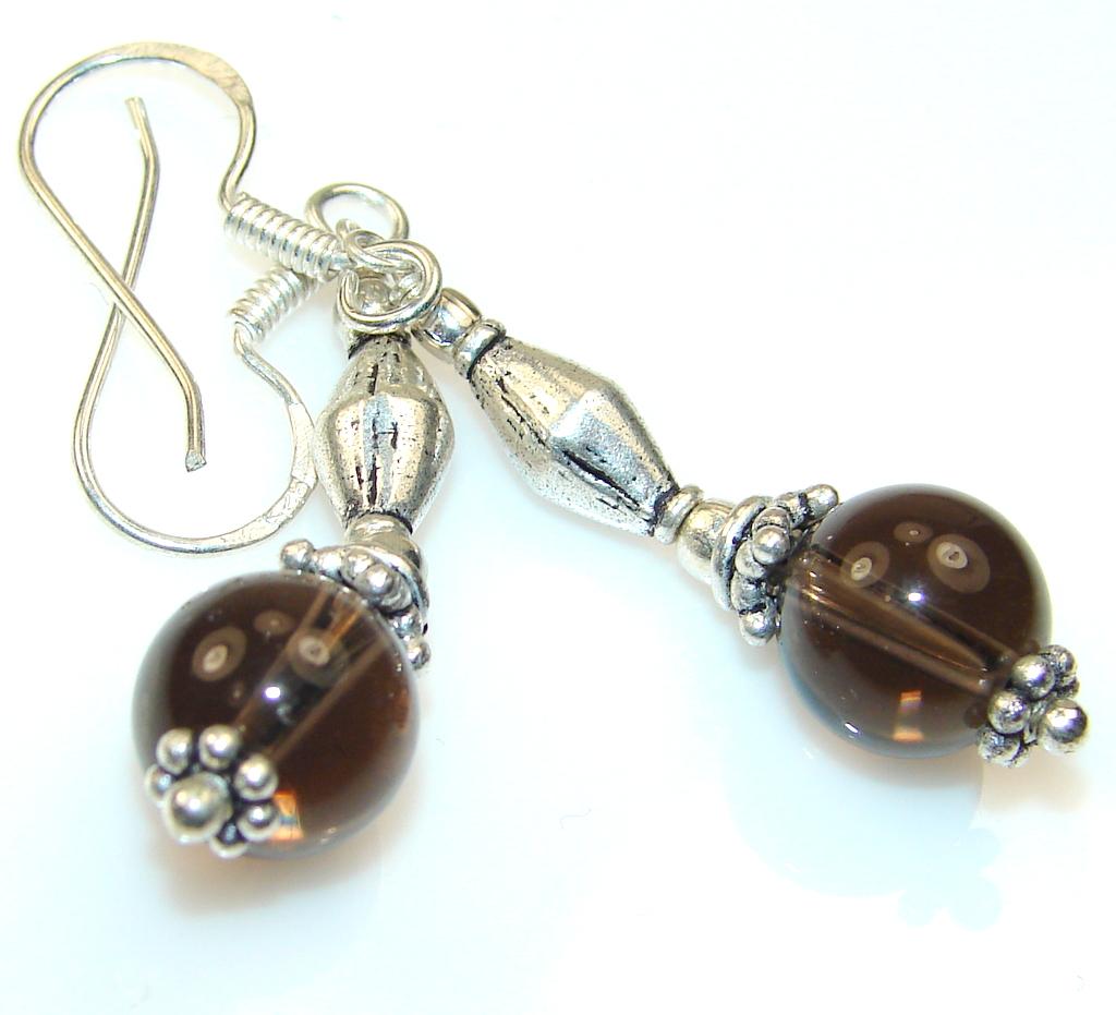 Hypnotic Moon Brown Quartz Sterling Silver earrings