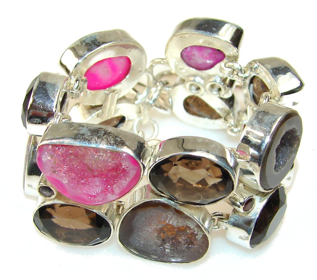 Vintage Agate Druzy Sterling Silver Bracelet