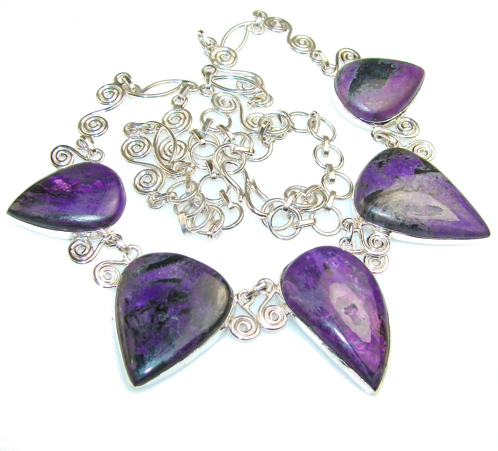 Mystries Purple Charoite Sterling Silver Necklace