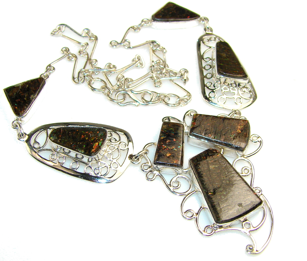 Nature's Contrasts Ammolite Sterling Silver necklace