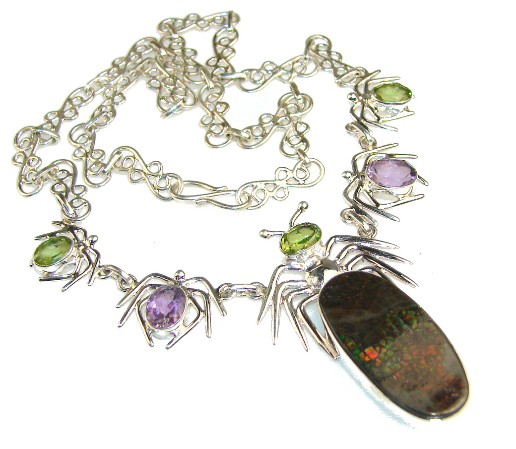 Special Moment!! Ammolite Sterling Silver necklace