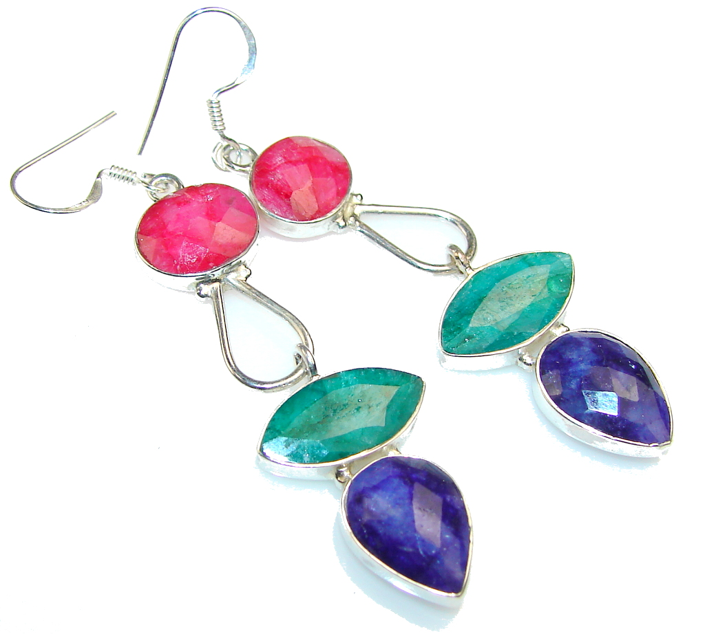Dazzling Blue Sapphire Sterling Silver earrings