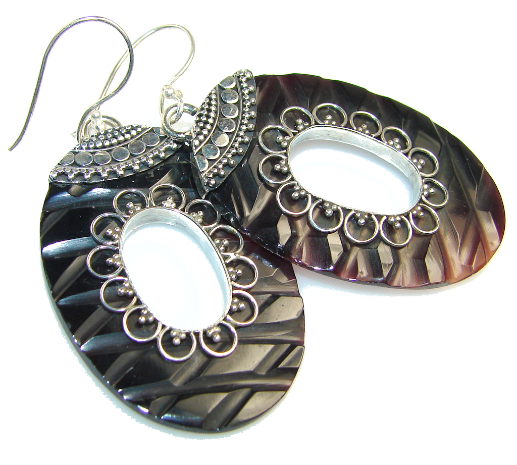 Classy Carved Abalone Shell Sterling Silver earrings