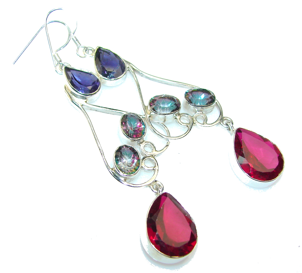 Exotic Pink Quartz Sterling Silver Earrings / Long