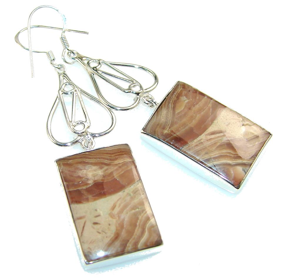 Fabulous Rhodochrosite Sterling Silver earrings