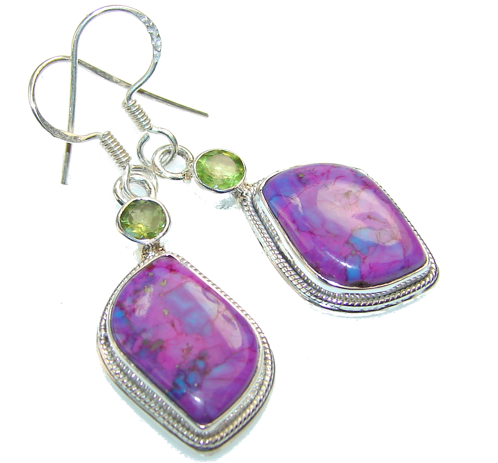 Excellent Green Turquoise Sterling Silver earrings
