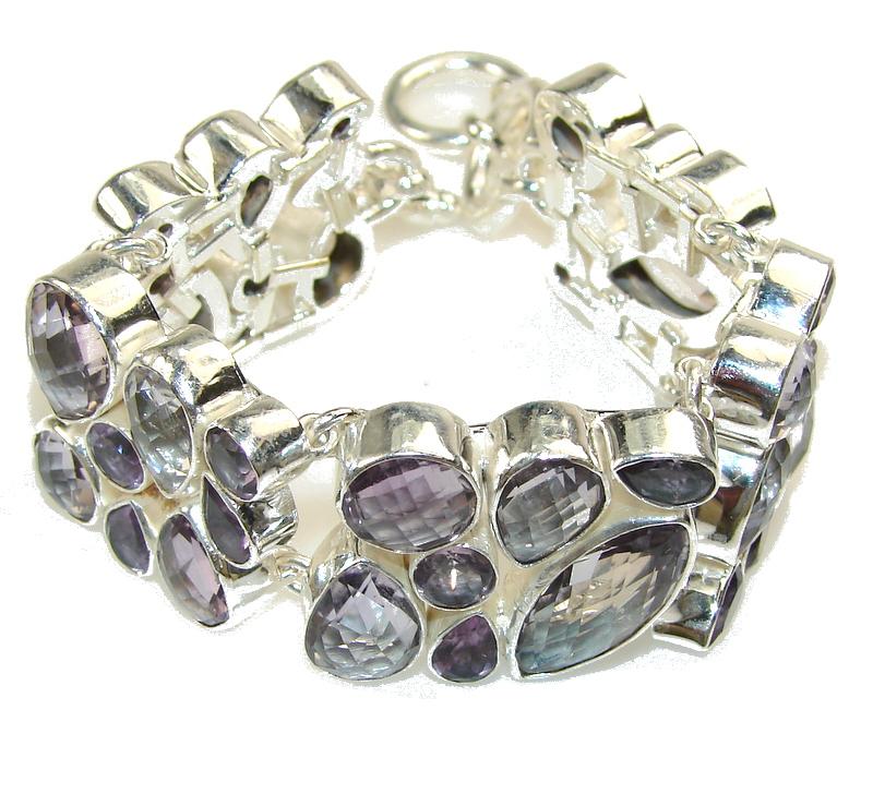 Tropisal Glow!!! Purple Amethyst Sterling Silver Bracelet