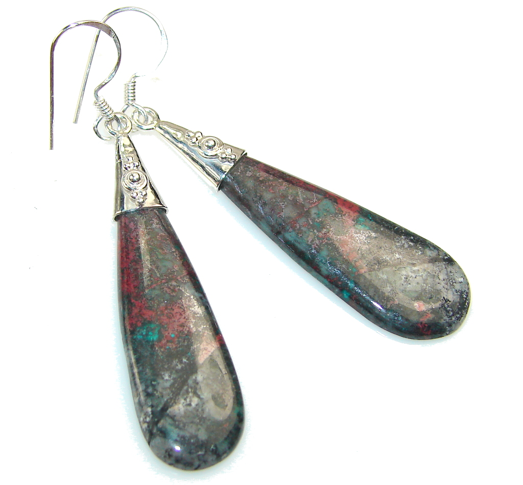 Grown Jewel!! Red Sonora Jasper Sterling Silver earrings
