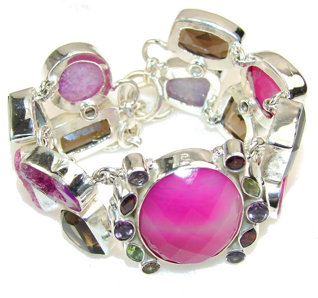 Stylish Design!! Botswana Agate Sterling Silver Bracelet