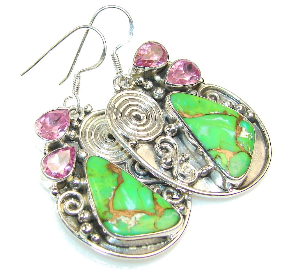 Island Dream!! Copper Turquoise Sterling Silver earrings